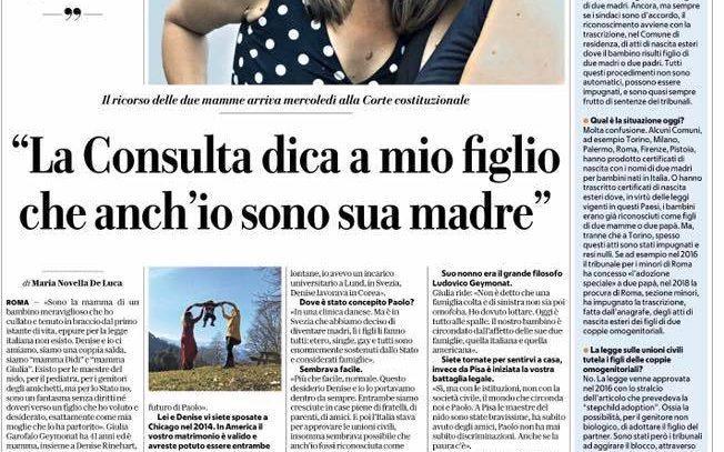 La Corte Costituzionale pone dei limiti al riconoscimento legale di un figlio nata in Italia in seguito a fecondazione assistita, da parte della madre intenzionale legata civilmente alla madre biologica secondo la legge italiana.
